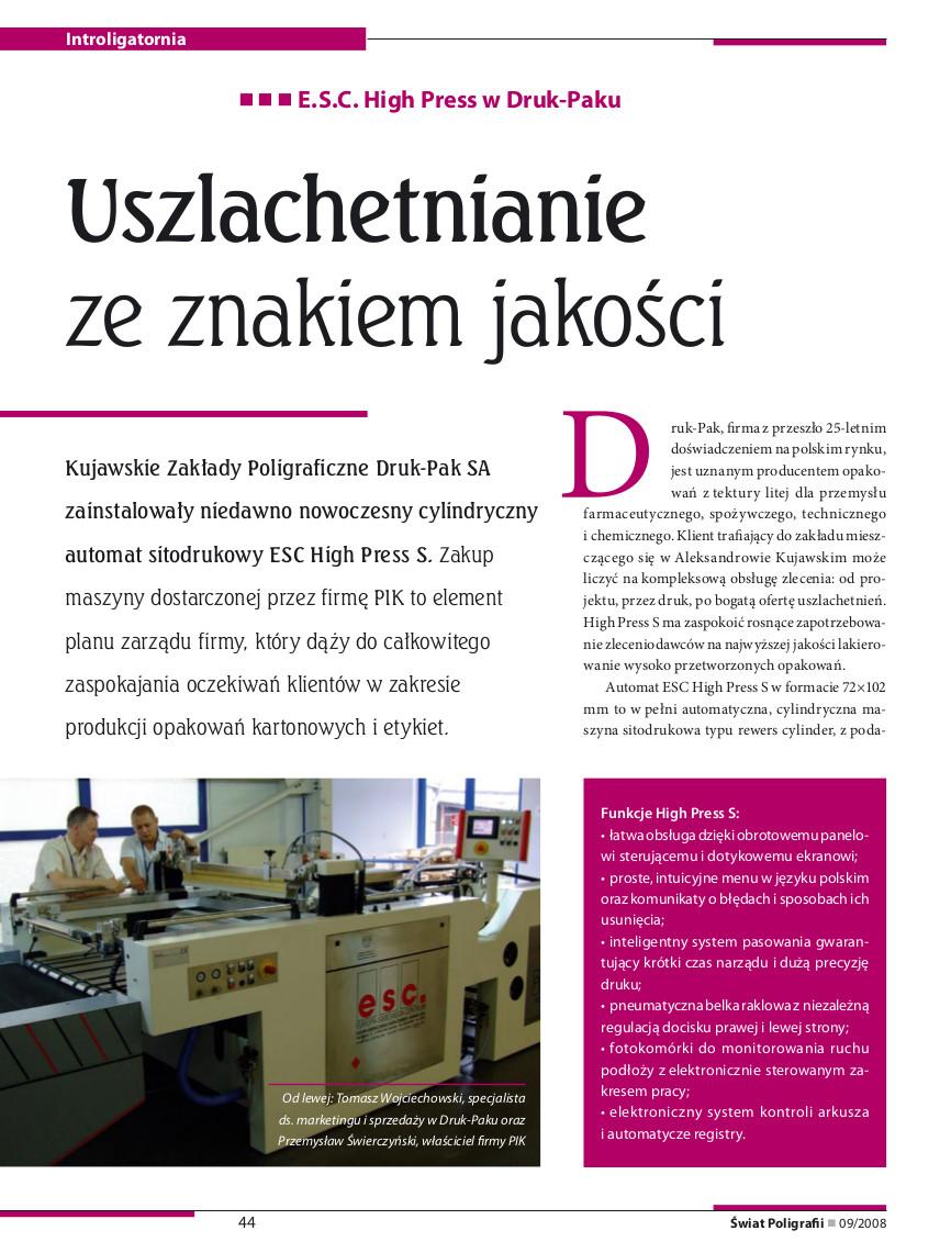 artykuł świat poligrafii 09 2008