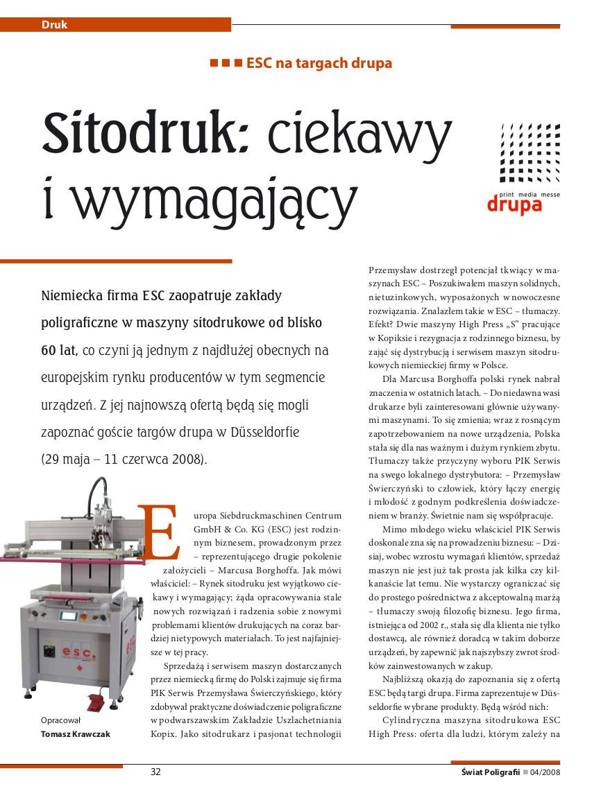 artykuł świat poligrafii 04 2008